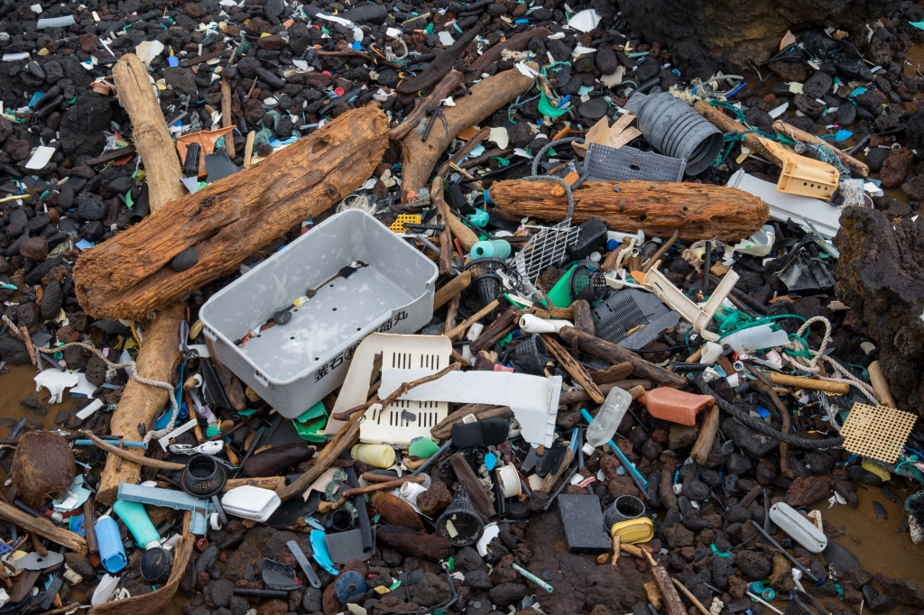Image of plastic and micro plastics washed into the environment