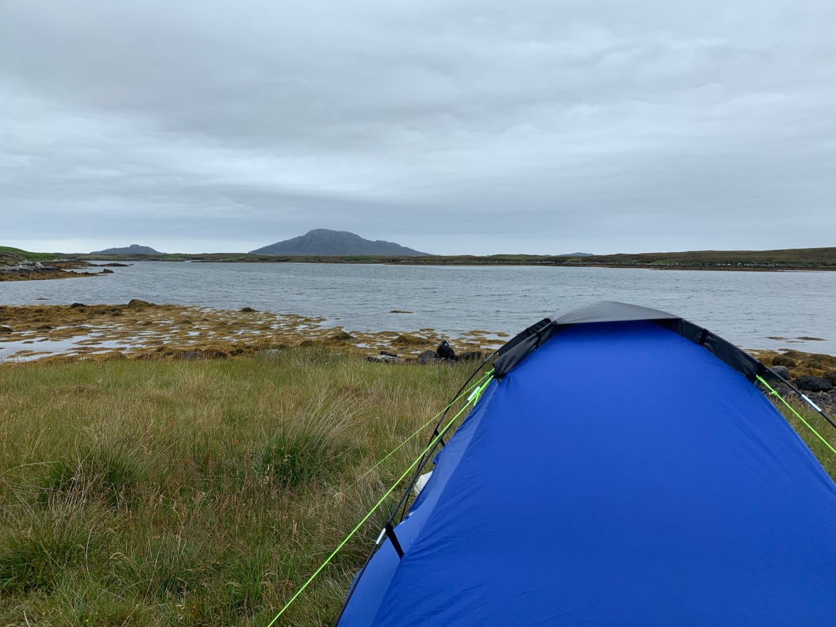 Wild camping in a tent in the Outer Hebrides