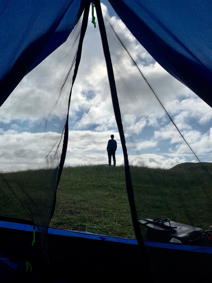 Wild camping in a tent, Outer Hebrides